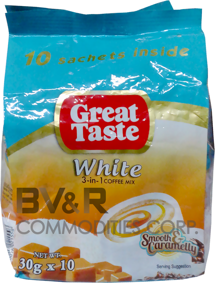 GREAT TASTE WHITE 3 in 1 COFFEE MIX SMOOTH and CARAMELLY