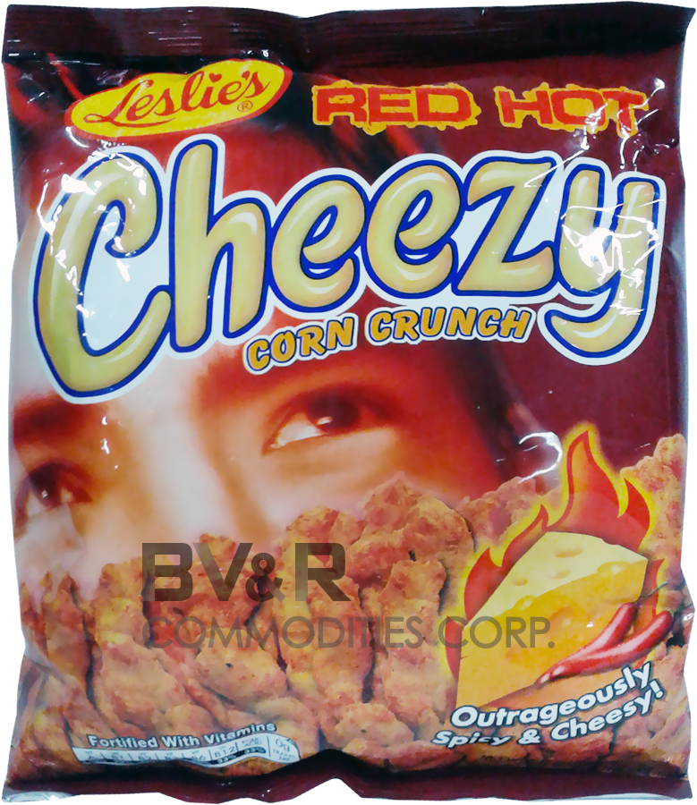 LESLIE'S RED HOT CHEEZY CORN CRUNCH OUTRAGEOUSLY SPICY & CHEESY