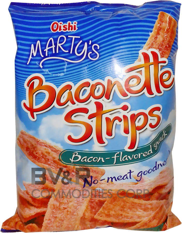 MARTY'S BACONETTE STRIPS BACON-FLAVORED SNACK NO-MEAT GOODNESS